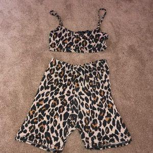 Leopard print crop top and biker shorts